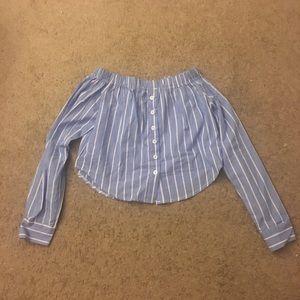Strapless bottom down long sleeve top